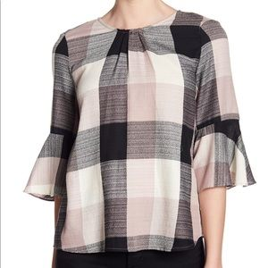 RO & DE | Pink and Grey Plaid Combo Top